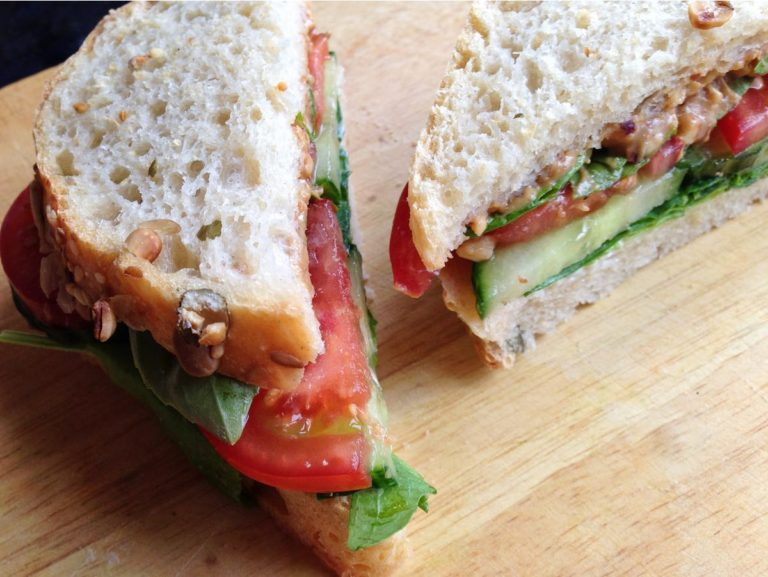 Peanut butter and basil salad sandwich