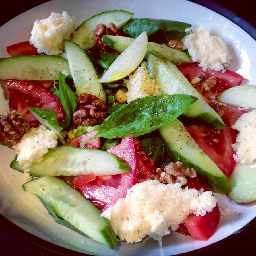 Amazing basil, cheese and walnut salad
