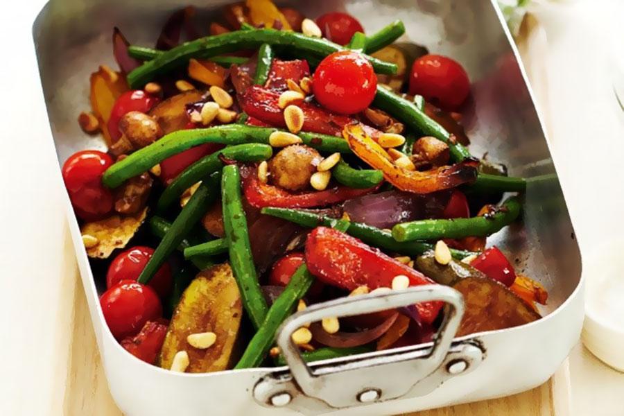 Roast chorizo and mediterranean vegetables