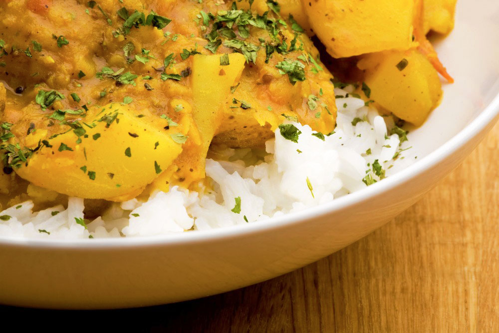 Lentil, potato and cauliflower korma