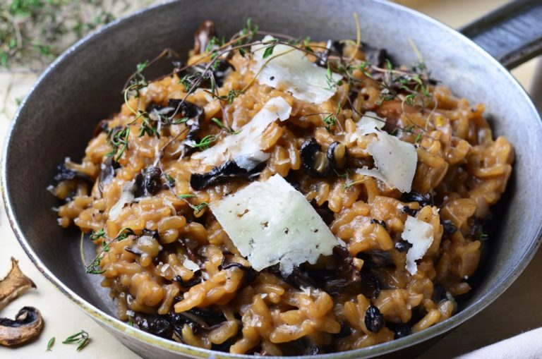 Porcini, chicken and bacon risotto