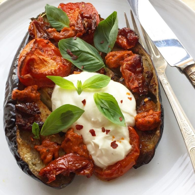 Roasted aubergines with chilli pesto and yoghurt