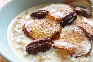 Caramelised apple and pecan porridge