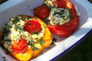 Boursin and baby tomato stuffed peppers