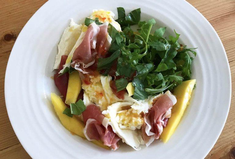 Parma, mango and mozzarella salad