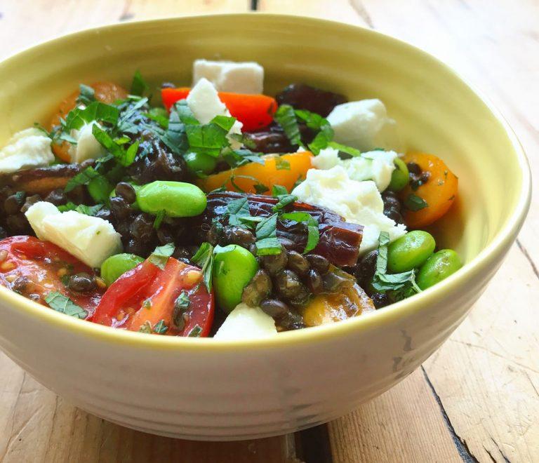 Puy lentil, feta and medjool salad with orange dressing