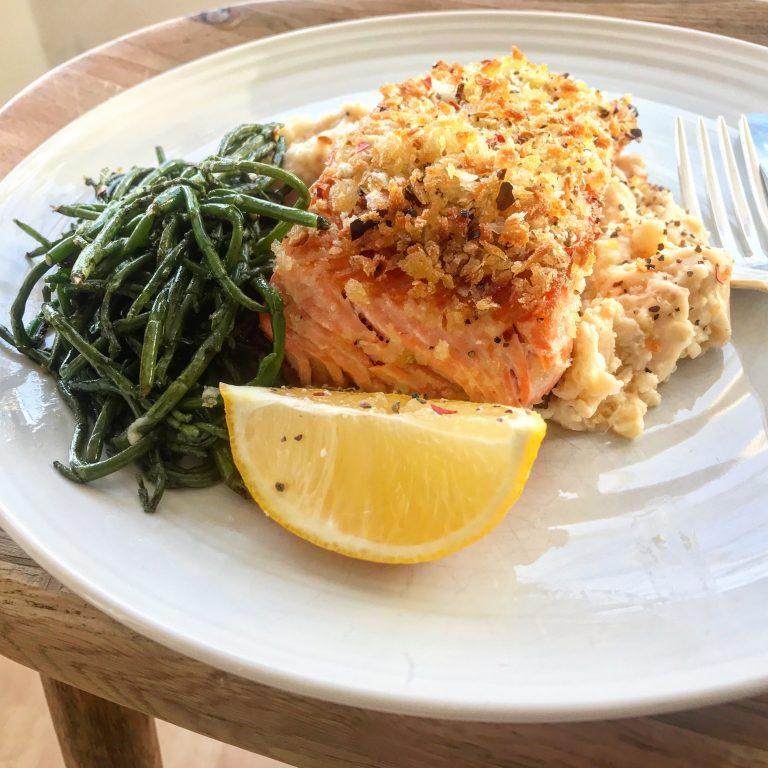 Chilli-crumbed salmon with creamy butterbean mash