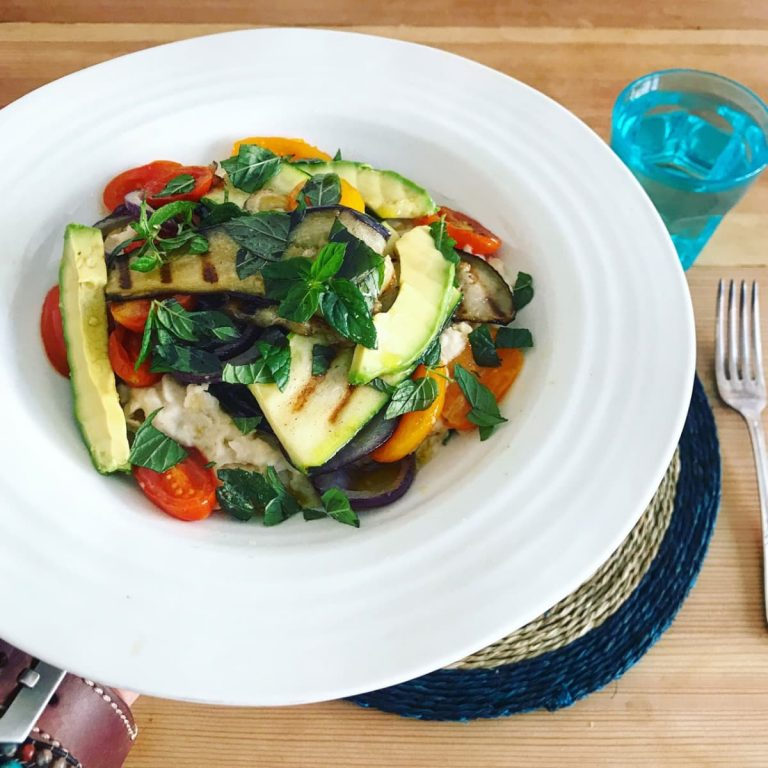 Griddled Mediterranean vegetables with creamy butterbean mash