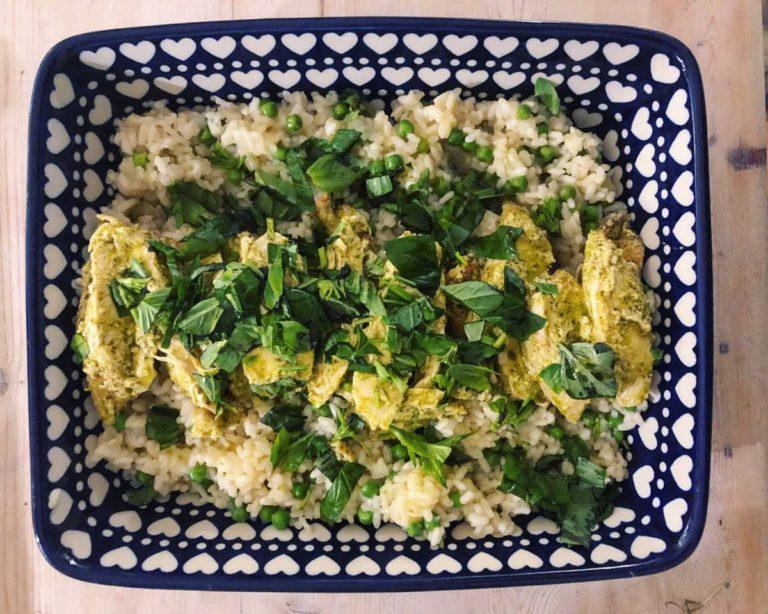 Creamy pesto chicken and savoury bomba rice