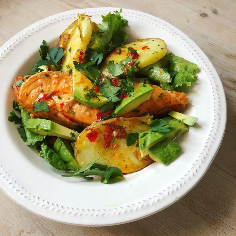 Salmon and hot potato and avocado salad with chilli lime dressing