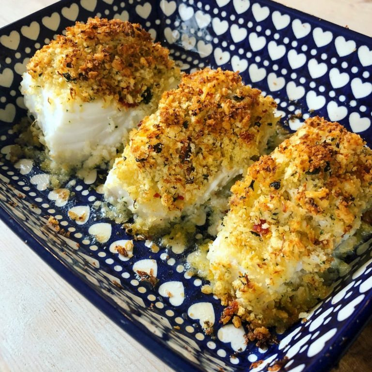Cod with chilli crab and parsley crumb